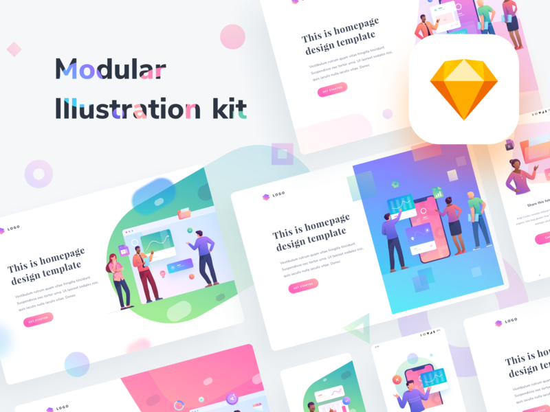 Modular Illustration Kit startup team work human people android illustrations web chart graph cards dashboard gradient app mobile icons illustration