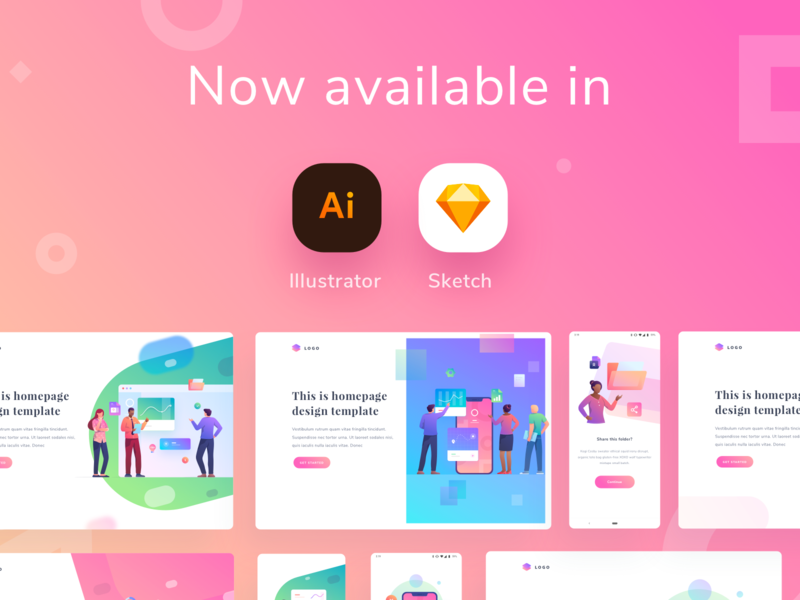 Modular Illustration Kit - Update! download premium kit sketch app illustrator illustrations hero image landingpage homepage dashboard gradient app mobile icons illustration