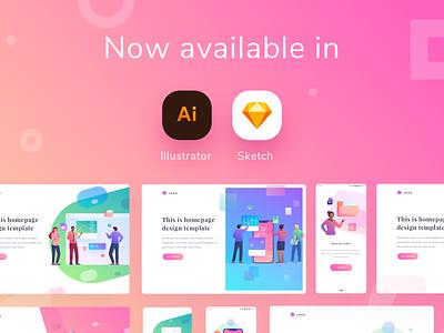 Modular Illustration Kit - Update! download premium kit sketch app illustrator illustrations hero image landingpage homepage dashboard gradient app mobile icons illustration