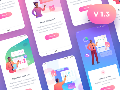 ModularKit v1.3 update kit vector ui ios android illustrations stats web chart graph cards social dashboard gradient app mobile icons illustration