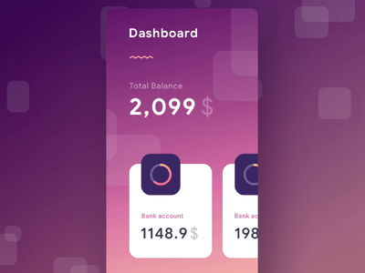 Wallet App Interaction principle ui material stats chart cards social dashboard gradient app mobile icons ios