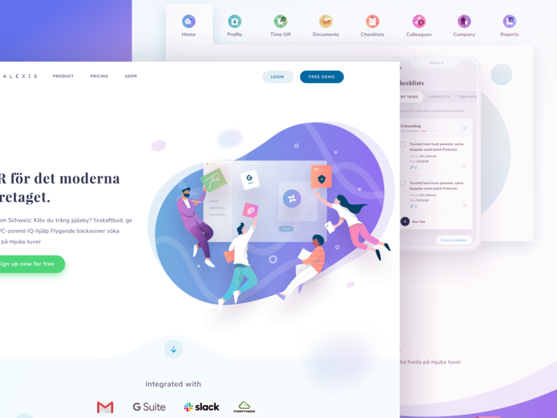 Alexis Landing Page Update collaboration teamwork people illustrations web stats social dashboard gradient app icons illustration