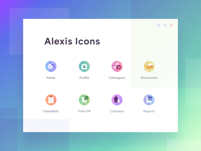 Alexis Iconset iconset material stats graph cards social dashboard gradient app icons illustration