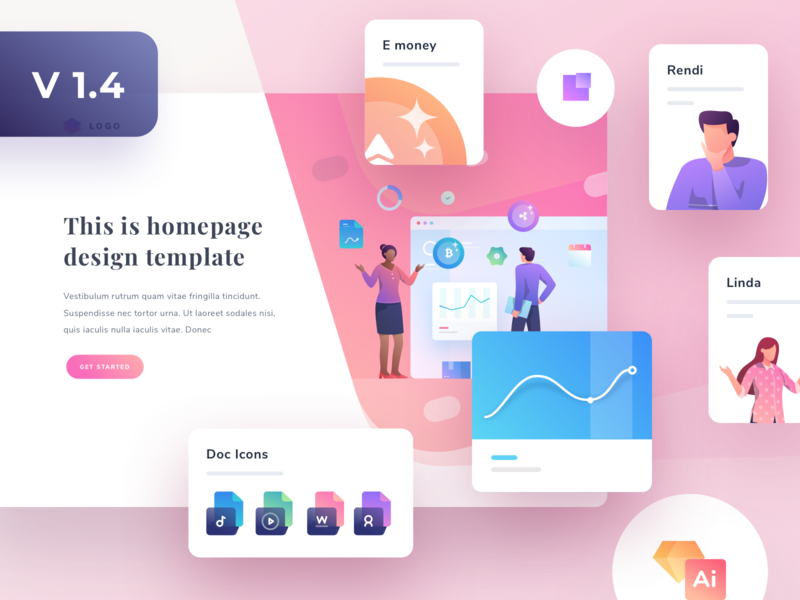 Modularkit v1.4 Update empty state landingpage vector kit illustrations stats web chart social cards dashboard gradient app ios icons illustration