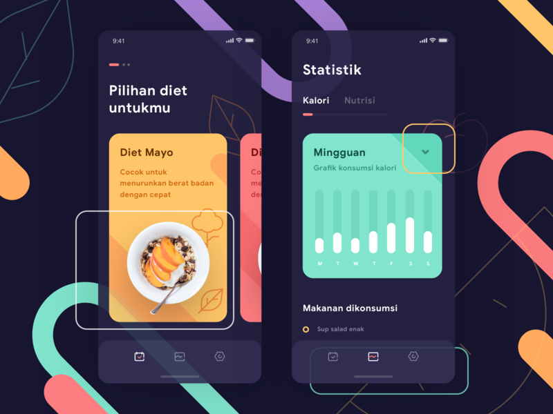 Calories Management App pantone pastel design stats chart graph cards social dashboard gradient mobile app ios icons illustration