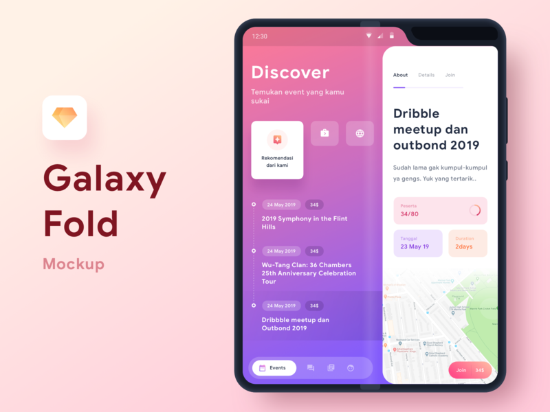 Foldable Phone Event App fold galaxy mockup freebie discover event material chart graph cards social dashboard gradient mobile app icons