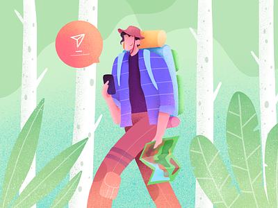 Adventure in the Jungle maps travel people gradient procreate forest jungle exploration