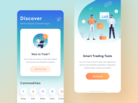Trading App Empty States & Onboarding chart graph ui illustrations social dashboard ios gradient app mobile icons illustration