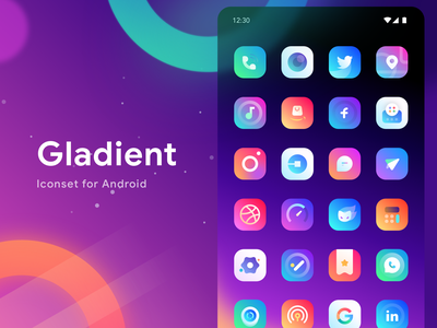 Gladient Iconset for Android outerspace galaxy iconset logo graph gradient app mobile icons illustration