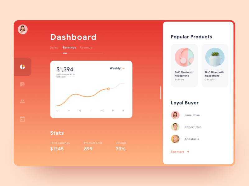 Commerce Dashboard UI sales commerce ui material web stats chart graph cards social illustration gradient app mobile icons ios