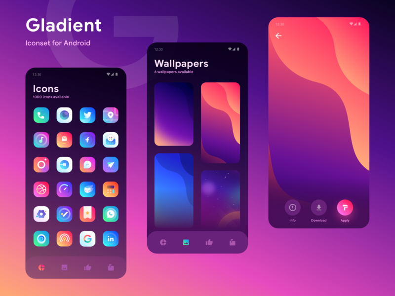 Gladient Iconset App Exploration themes galaxy material wallpaper wall illustrations cards dashboard app gradient mobile ios icons illustration