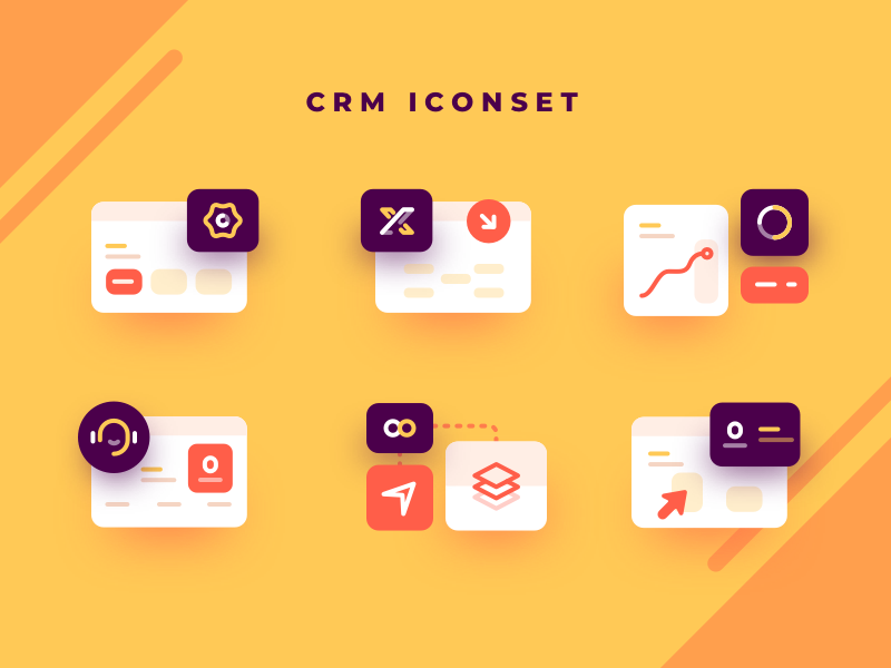 Customer Relationship Management Iconset crm flat vector social illustrations stats chart graph cards dashboard app mobile icons illustration