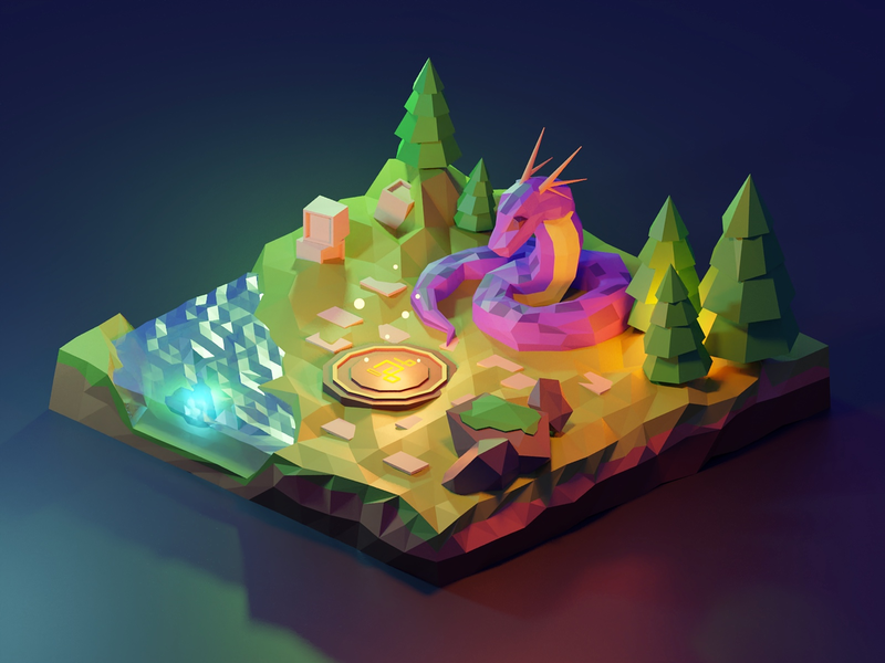Magical Scenery Low Poly Illustration modelling forest pine low poly blender 3d dungeon ancient beast monster dragon gradient icons illustration