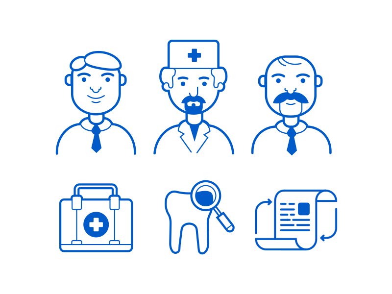 Medical icons blue tie mustache beard health doc doctor first aid tooths illustration vector icon medicine medica
