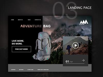 #dailyUI03 - Landing Page hiking bag product page landing page ui design branding