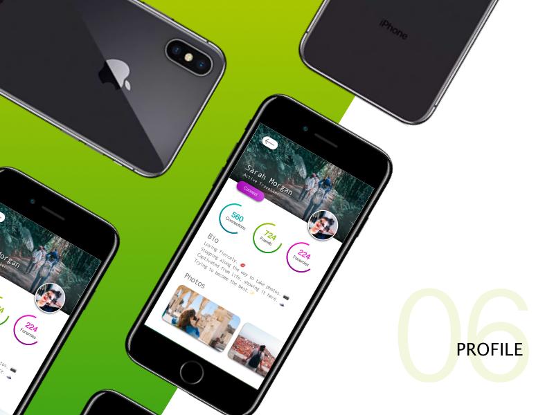 #dailyUI04 - Profile profile design profile card mobile iphone gradient green connected profile illustration app ui design branding
