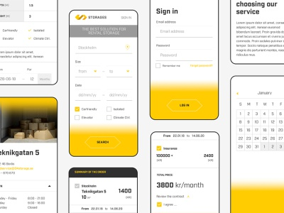 Storages – web app photoshop yellow white business minimal user interface branding responsive web design
