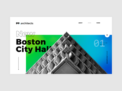 Architecture studio website - quick sketch_01 city hall boston brutalism modern minimalism minimalist webdesig website architecture colorful photoshop