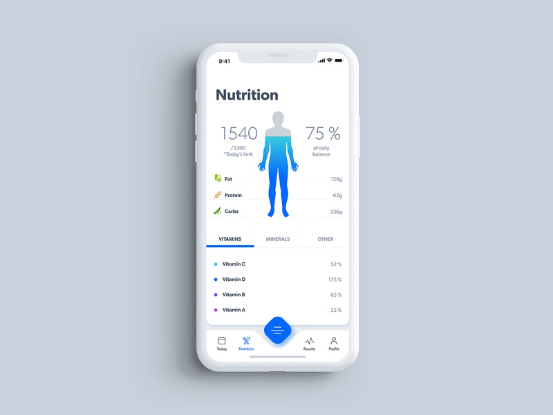 Nutrition Screen mobileapp design primedivision sevilaxiom adobexd health coach healt health center health app health care future futurehealth body bodyscanning bodyscan scanning nutrients health healthapp nutrition