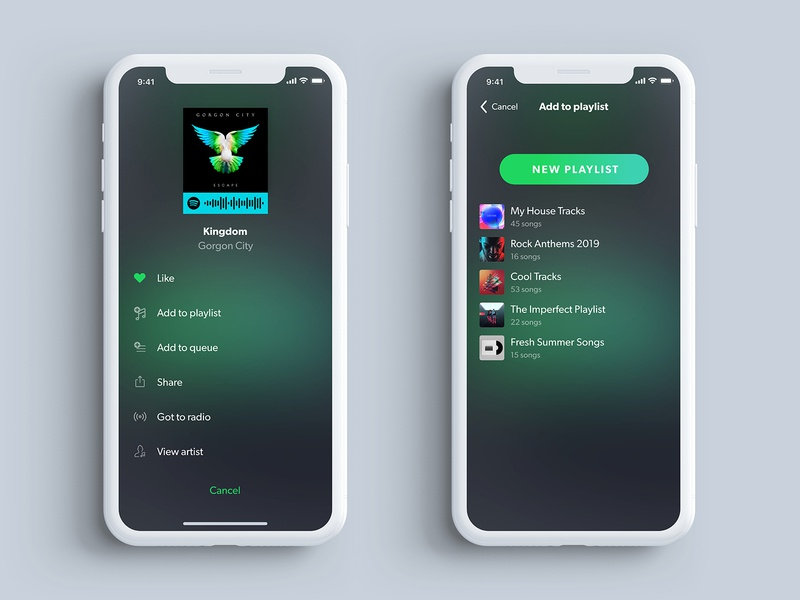 Spotify Add to Playlist audible ui design mobileapp ios audio app audio entertainment app entertainment music library music app musicapp spotify ux strahil primedivision xd sevilaxiom hadzhiev adobexd