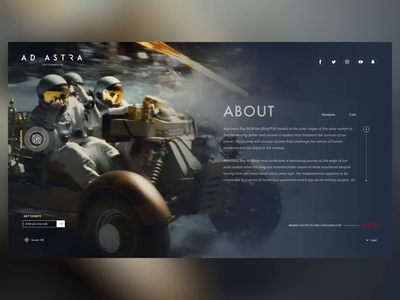 Ad Astra (Theatrical Website UI Design Concept) browser ui ux userexperience animatedux animatedui webui webdesign design web astra ad adastra primedivision division prime хаджиев страхил hadzhiev strahil