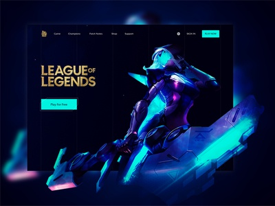 League Of Legends - Landing Page design dark 2020 champion league of legends game ui landing page
