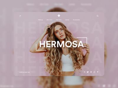 Hermosa - Landing Page online shop ecommerce makeup girls illustrator sketch 2020 design ui landingpage