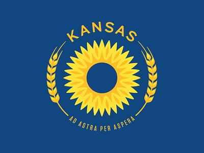 Kansas State Flag Update blue yellow redesign sun circle kansas wheat sunflower state flag