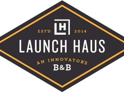 Launch Haus hostel bed breakfast diamond crest initials innovator startup
