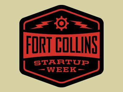 Fort Collins Startup Week Logo entrepreneur gear lightning electricity hexagon colorado