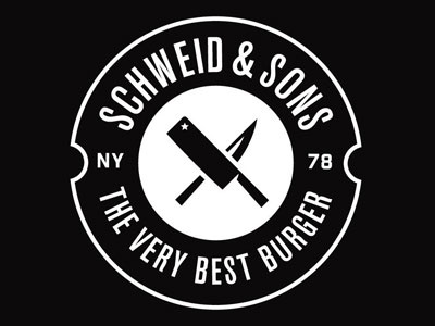 Schweid & Sons Identity butcher meat knives circle enclosure crest nyc burger