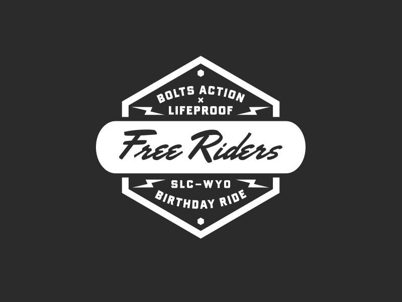 Bolts Action / LifeProof ride skateboard motorcycle moto shock lightning bold script logo lockup badge