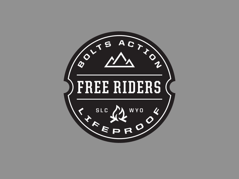 Bolts Action Badge ride motorcycle moto mountains campfire bold script logo lockup badge