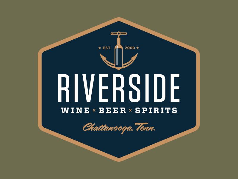 Riverside Beverage Badge beer spirits badge boat corkscrew bottle beverage alcohol booze wine liquor anchor