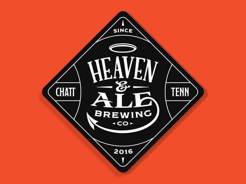 Heaven & Ale Brewing Co. Coaster enclosure beverage ampersand hell devil halo diamond ale heaven brewing brewery beer