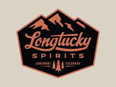 Longtucky Logo Badge distillery pines trees mountains colorado whiskey alcohol spirits badge