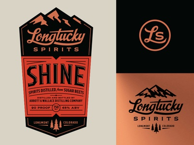 Longtucky Label Logos emblem script mountains trees pines colorado alcohol whiskey spirits copper
