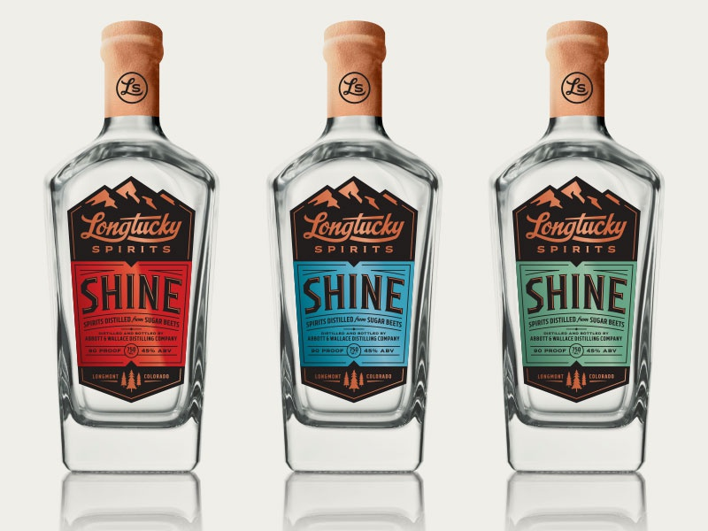 Longtucky Spirits – Printed Bottle Label Mockups label bottle mountains trees pines colorado alcohol whiskey spirits copper