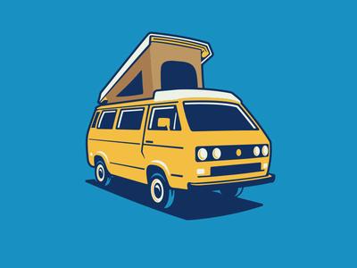 VW Vanagon Westy travel auto yellow camping camper van bus volkswagon westy