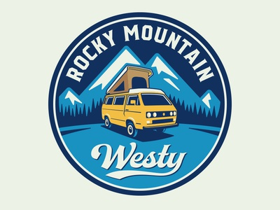 Rocky Mountain Westy Logo travel auto yellow camping camper van bus volkswagon westy