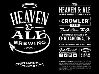 Heaven & Ale Brewing Co. Crowler Wrap Concept halo ampersand brewing brewery black logo packaging label crowler beer