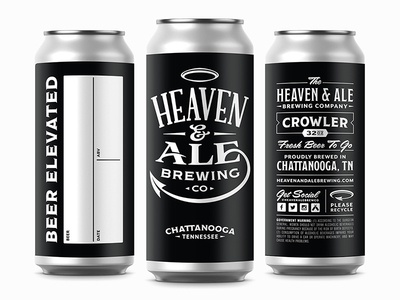 Heaven & Ale Brewing Co. Concept Crowlers halo ampersand brewing brewery black logo packaging can label crowler beer