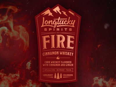 Longtucky Fire Label colorado craft distillery mountains alcohol ginger cinnamon whiskey spirits