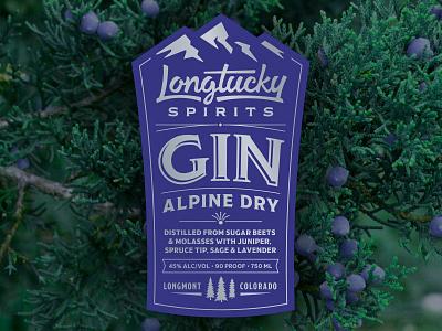 Longtucky Gin Label colorado craft distillery molasses sugar beets mountains alcohol lavender sage alpine gin spirits