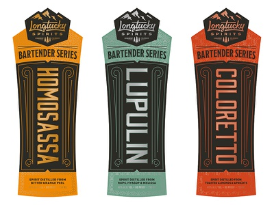 Longtucky Spirits Bartender Series foil badge label distilling distillery liquor bartender spirits