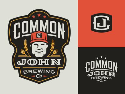 Common John Brewing Co. Logos stars initials barley hops brewing tennessee badge lockup beverage beer brewery