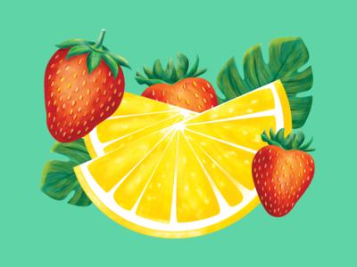 Strawberry Lemonade Illustration palm leaf lemon strawberry packagedesign product design label design packaging lemonade calypso illustration