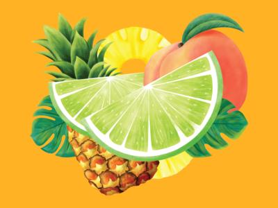 Calypso Limeade Illustration rebranding label packaging product design label design limes palm leaf peach pineapple illustration limeade