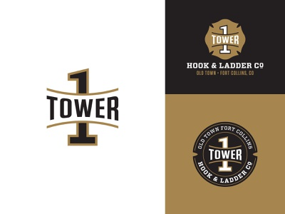 Poudre Fire Authority Tower 1 Logos fireworks arch black gold crest badge tower ladder hook and ladder fire department fire