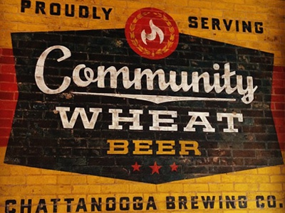 Community Wheat Beer mural brick wheat beer community flame pizza chattanooga brewery brewing vintage paint
